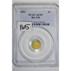 1853 $1 Cal Gold BG-530
