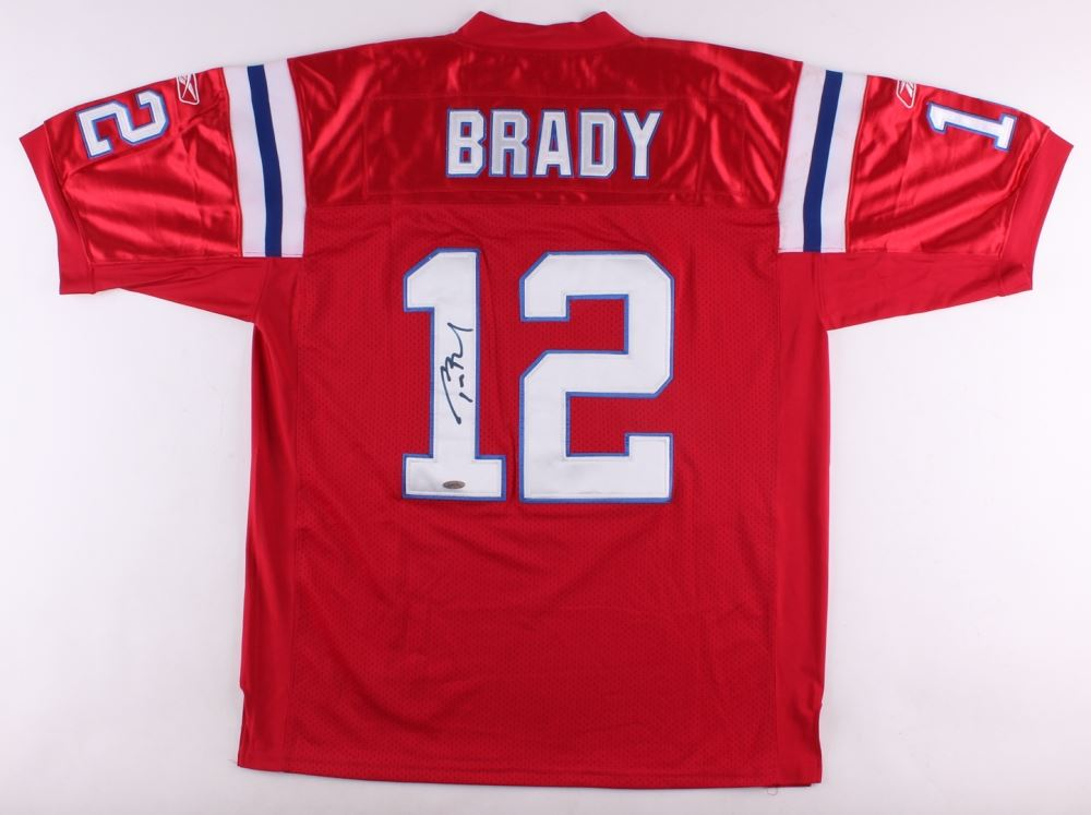 timeless design d0748 f78c6 Tom Brady Signed Throwback Patriots Reebok Authentic On ...