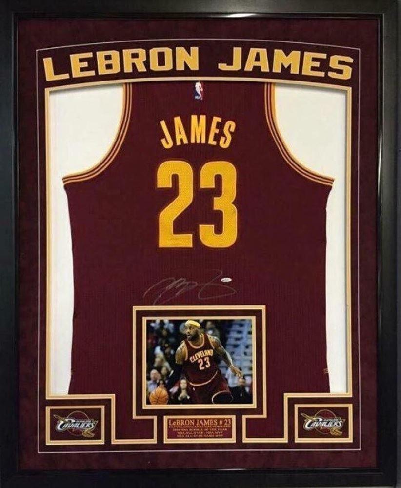the best attitude f8a68 1cc81 LeBron James Signed Cavaliers 36x44 Custom Framed ...