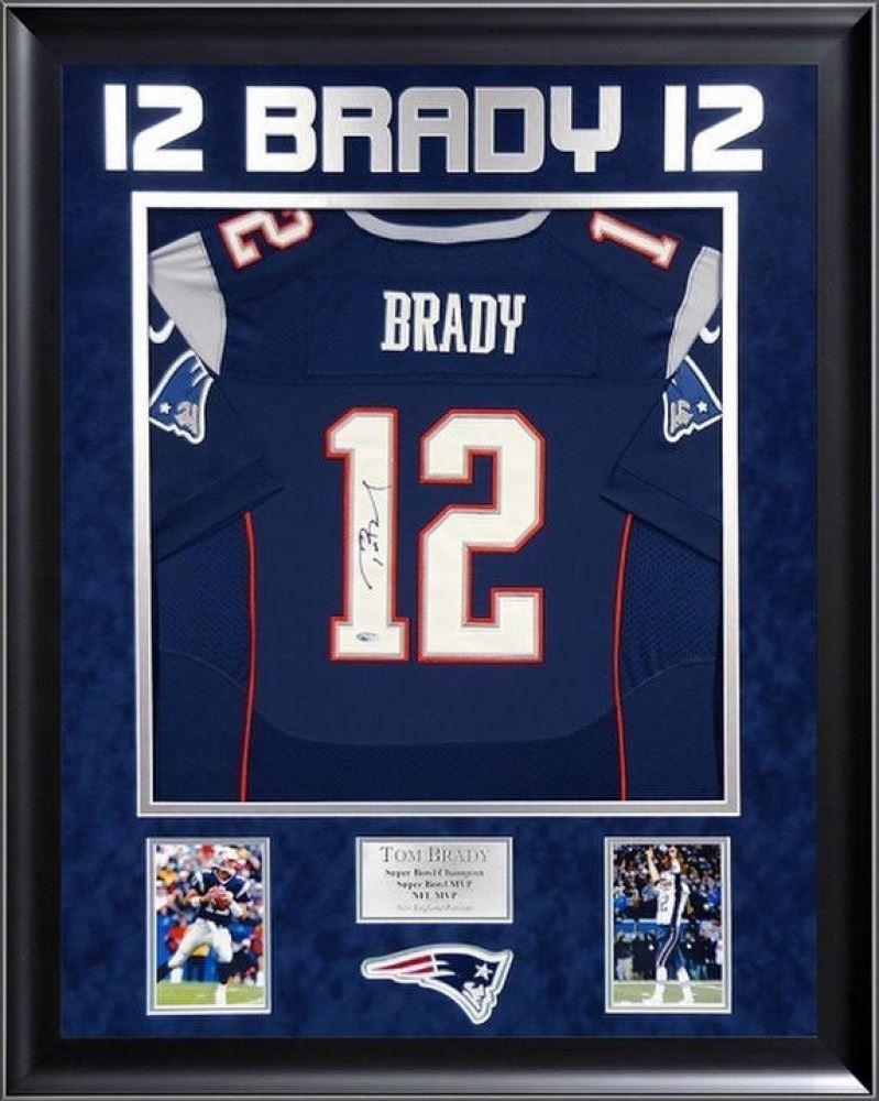 best website e6b3a 9a46b Tom Brady Signed Patriots 36x44 Custom Framed Authentic Nike ...