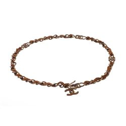Chanel Antique Brass Chain Link and Brown Suede CC Logo Belt