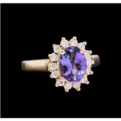 1.55 ctw Tanzanite and Diamond Ring - 14KT Rose Gold