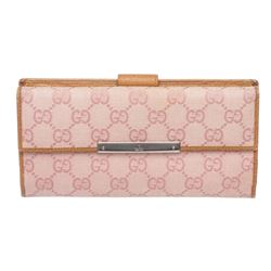 Gucci Pink Beige Canvas Leather Monogram Long Wallet
