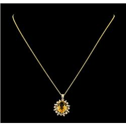 4.83 ctw Citrine and Diamond Pendant With Chain - 14KT Yellow Gold