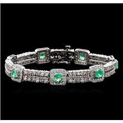 2.84 ctw Emerald and Diamond Bracelet - 14KT White Gold