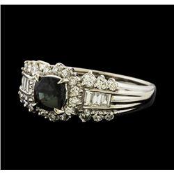 0.96 ctw Alexandrite and Diamond Ring - Platinum