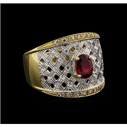 14KT Yellow Gold 1.02 ctw Ruby and White Topaz Ring