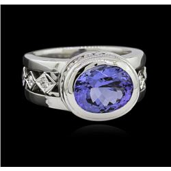3.78 ctw Tanzanite and Diamond Ring - 18KT White Gold