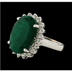 7.30 ctw Emerald and Diamond Ring - 14KT White Gold