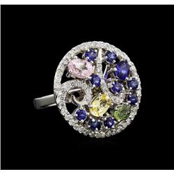 14KT White Gold 3.18 ctw Sapphire and Diamond Ring