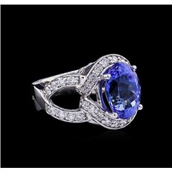 6.13 ctw Tanzanite and Diamond Ring - 14KT White Gold