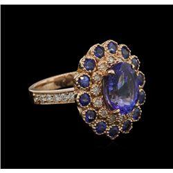 4.20 ctw Tanzanite, Sapphire and Diamond Ring - 14KT Rose Gold