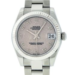 Rolex Midsize SS White Arabic Jubilee Dial WG Fluted Bezel Oyster Band Datejust