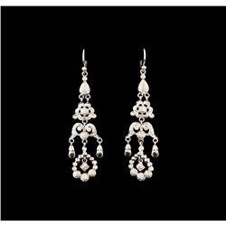 1.30 ctw Quartz and Diamond Earrings - 18KT White Gold