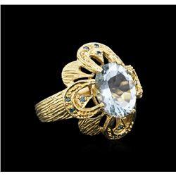 14KT Yellow Gold 4.49 ctw Aquamarine and Blue Diamond Ring
