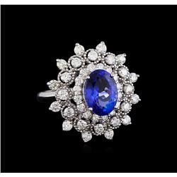 3.88 ctw Tanzanite and Diamond Ring - 14KT White Gold