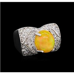 3.70 ctw Opal and Diamond Ring - 14KT White Gold