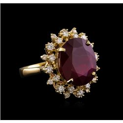 10.98 ctw Ruby and Diamond Ring - 14KT Yellow Gold