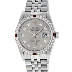 Rolex Mens Stainless Steel Slate Grey Diamond and Ruby Sapphire 16234 DateJust W