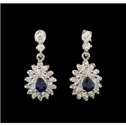 14KT White Gold 1.16 ctw Sapphire and Diamond Earrings