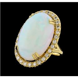 23.60 ctw Opal and Diamond Ring - 14KT Yellow Gold