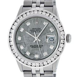 Rolex Mens Stainless Steel Meteorite 3.15 Carat Diamond Datejust Wristwatch