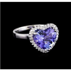4.42 ctw Tanzanite and Diamond Ring - 14KT White Gold