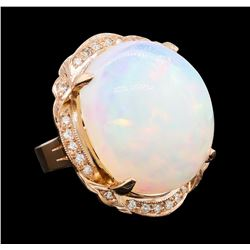 34.43 ctw Opal and Diamond Ring - 14KT Rose Gold
