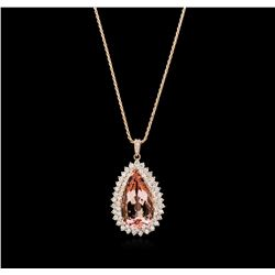 23.16 ctw Morganite and Diamond Pendant With Chain - 14KT Rose Gold