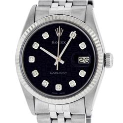 Rolex Mens Stainless Steel Black Diamond Datejust Wristwatch