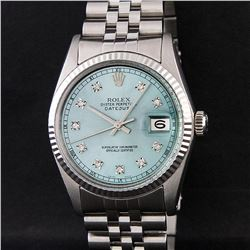 Rolex Mens Stainless Steel Ice Blue Diamond Quickset 16234 DateJust Wristwatch