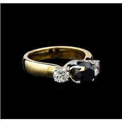 2.11 ctw Black and White Diamond Ring - 14KT Yellow Gold