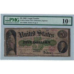 1862 PMG VG 10NET $5 Legal Tender Bank Note