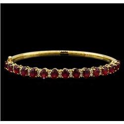 14KT Yellow Gold 7.95 ctw Rubies and Diamond Bangle Bracelet