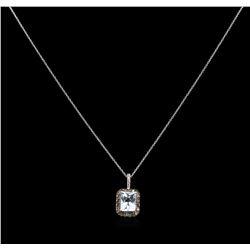 2.23 ctw Aquamarine and Diamond Pendant With Chain - 14KT White Gold