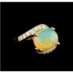3.95 ctw Opal and Diamond Ring - 14KT Yellow Gold