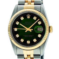 Rolex Mens 36mm Two Tone Yellow Gold Green Vignette DiamondDateJust Wristwatch