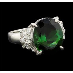 5.89 ctw Tourmaline and Diamond Ring - Platinum