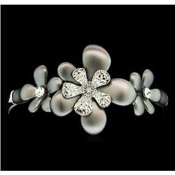 Flower Hand Painted Bracelet - Rhodium Plated