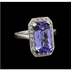 6.32 ctw Tanzanite and Diamond Ring - 14KT White Gold