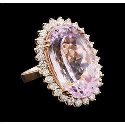 29.20 ctw Kunzite and Diamond Ring - 14KT Rose Gold