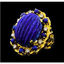 17.00 ctw Lapiz Lazuli and Diamond Ring - 14KT Yellow Gold