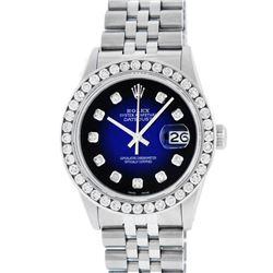 Rolex Mens Stainless Steel Blue Vignette 3 ctw Channel Set Diamond Datejust Wris