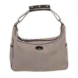 Tod's Gray Canvas Blue Patent Leather Trim Shopper Shoulder Handbag