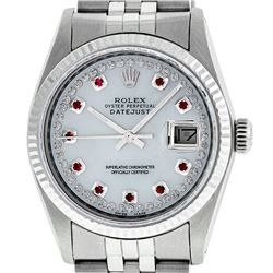 Rolex Mens 36mm Stainless Steel MOP Ruby String Diamond Datejust Wristwatch
