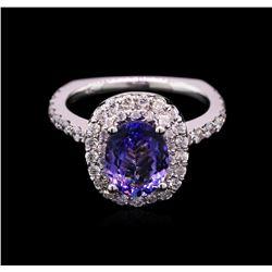 1.80 ctw Tanzanite and Diamond Ring - 14KT White Gold