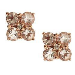 1.45 ctw Morganite and Diamond Earrings - 14KT Rose Gold