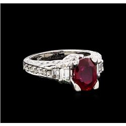 1.07 ctw Ruby and Diamond Ring - 18KT White Gold