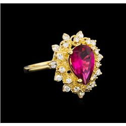 1.67 ctw Pink Topaz and Diamond Ring - 14KT Yellow Gold