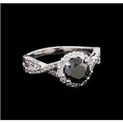 2.10 ctw Black and Diamond Ring - 14KT White Gold